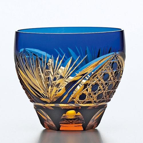 Saika Kiriko Glass Tumbler Round BLUE