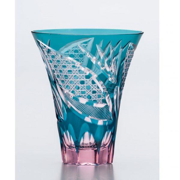 Saika Kiriko Glass Tumbler Tall GREEN