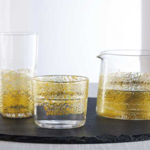 Edo Kiriko Glass Gold 2pc Set
