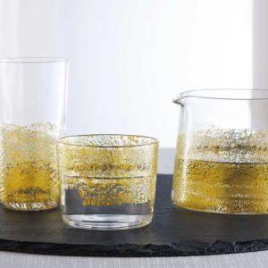 Edo Kiriko Glass Gold 2pc Set