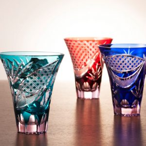 Saika Kiriko Glass Tumbler Tall GREEN