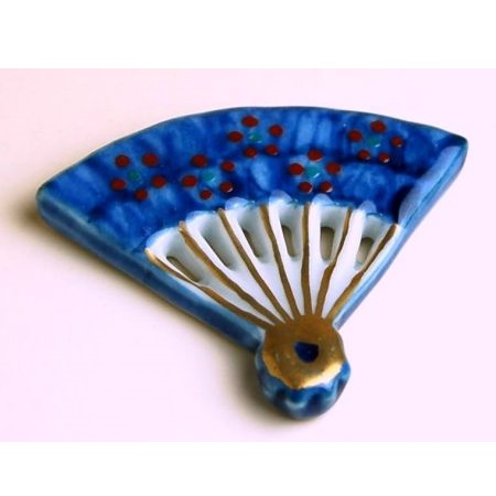 Chopstick Rest Fan Gold Blue