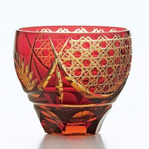 Saika Kiriko Glass Tumbler Round RED
