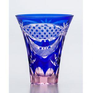 Saika Kiriko Glass Tumbler Tall BLUE