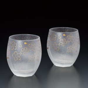 Premium Glass Cup Sakura 2pc