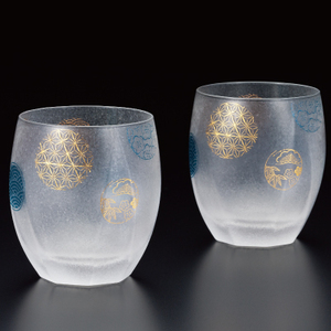 Premium Glass Cup Round Crest 2pc