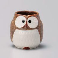 Brown Owl Yunomi Japanese Tea Cup