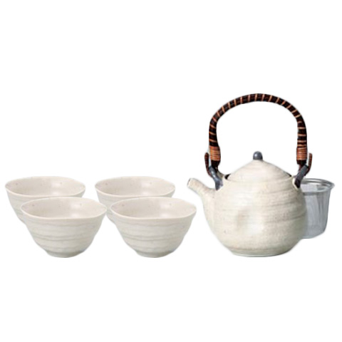 White Iga Japanese Tea Set