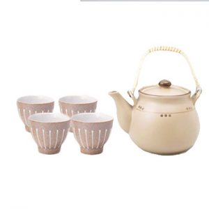 Charcoal Dot Dobin Japanese Tea Set