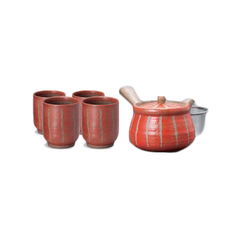 Hori Togusa Red Japanese Tea Set