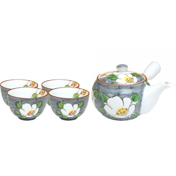 White Flower Japanese Tea Set