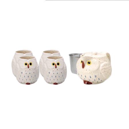 White Owl Japanese Tea Set