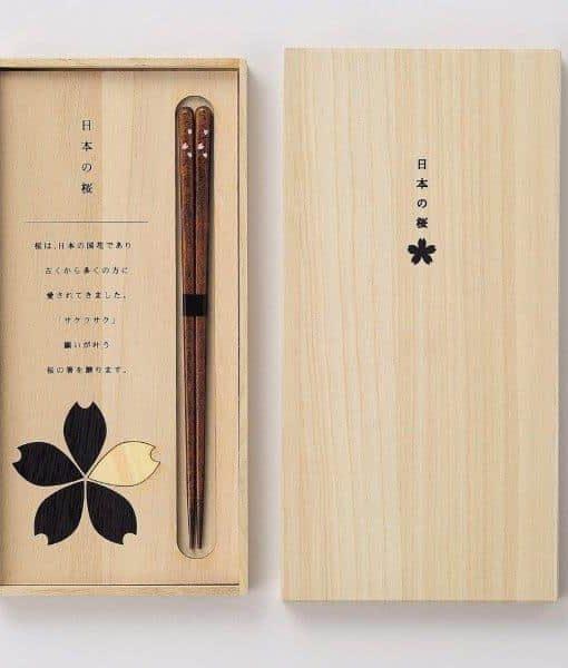Natural Wood Chopsticks Gift Set Cherry Blossom