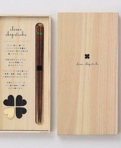 Natural Wood Chopsticks Gift Set Heart Clover