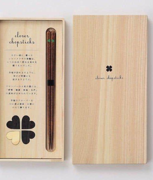 Natural Wood Chopsticks Gift Set Heart Clover