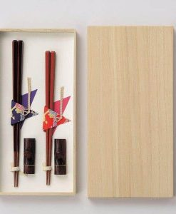 Natural Wood Chopsticks Couple Gift Set Octagon