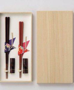 Natural Wood Chopsticks Couple Gift Set Octagon