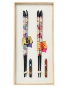 Natural Wood Chopsticks Couple Gift Set Flower