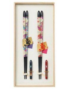 Natural Wood Chopsticks Couple Gift Set Flower